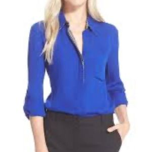 DVF Blue Silk Button Down Top Sz 8 #1386